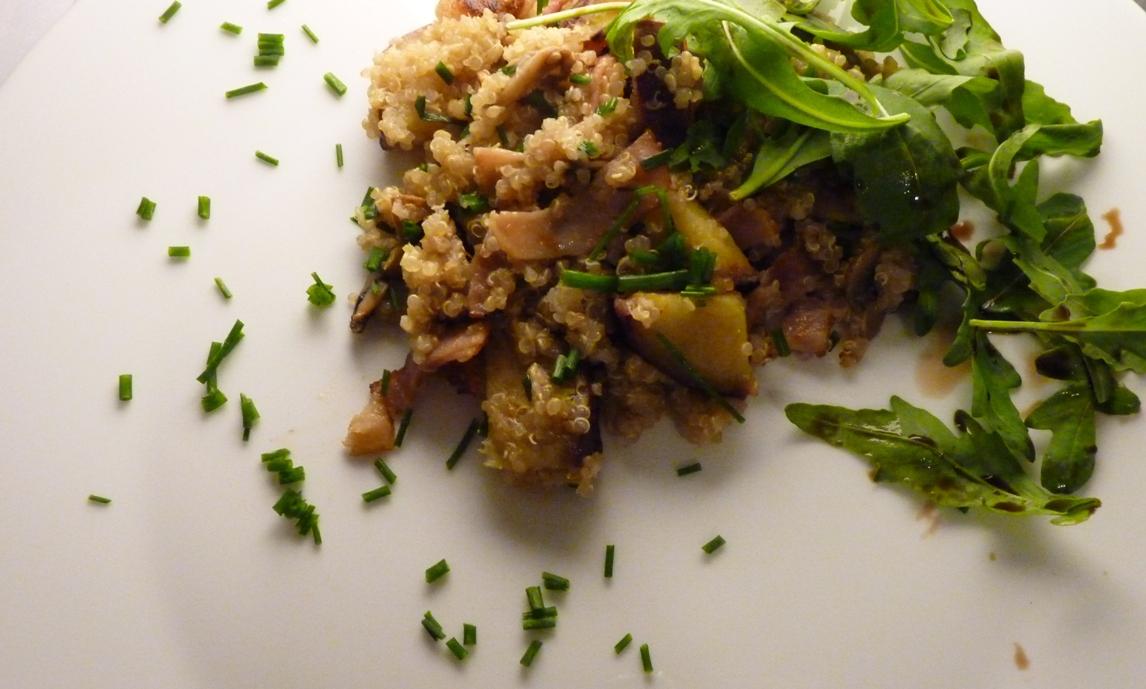 Salada quente de Quinoa com bacon